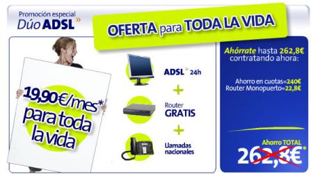 Oferta ADSL de Telefónica 19,90€ al mes para toda la vida